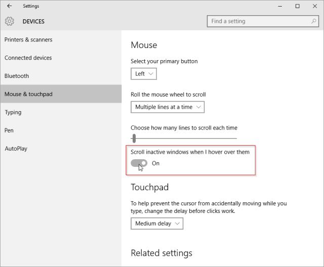 Windows 10 active window scroll setting