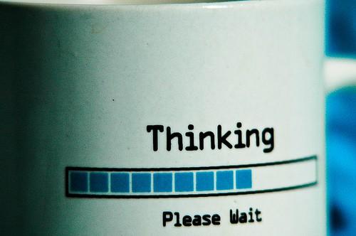 focus - thinking please wait photo
