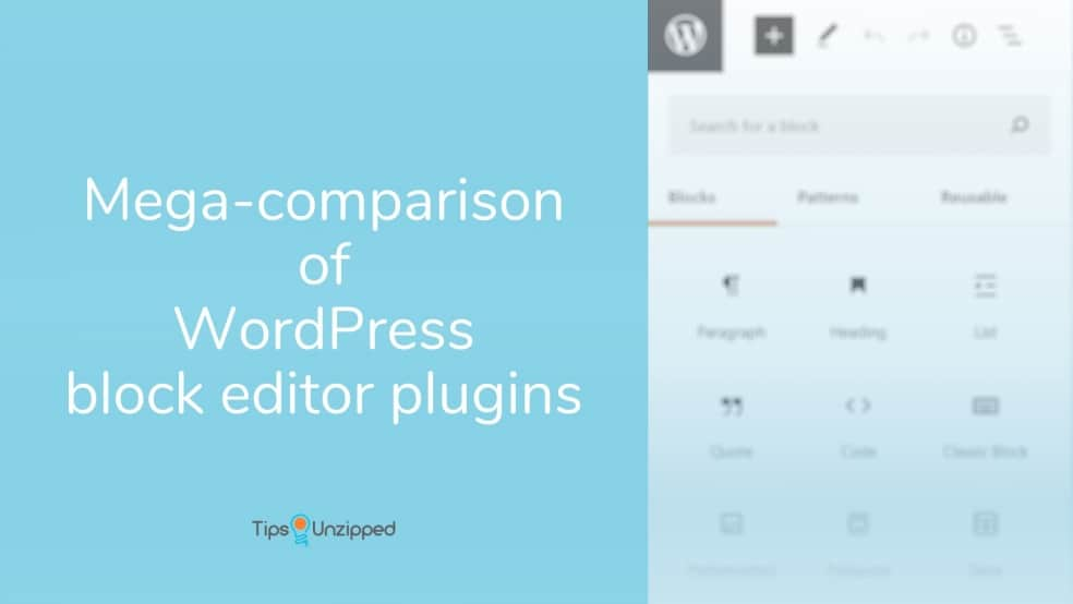 Mega comparison of wordpress block editor plugins